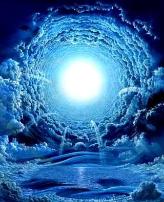 Artistieke impressie van de 'tunnel-met-aan-het-einde-licht', waarover veel wordt gesproken in de bijna-dood-ervaringen.