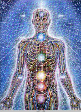 Het fysieke lichaam als 'anker' voor het energetisch lichaam. De chakra's zijn knopen, én de 'uitwisselings'-punten van in- en externe energie.