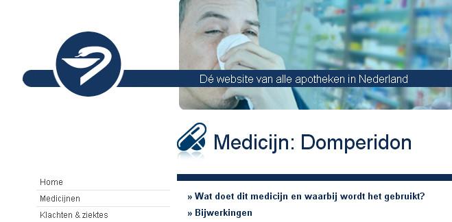 Een shot uit de apothekerswebsite, waar heel duidelijk de uiterst verontruste bijwerking van het medicijn op het hart wordt gebagatelliseerd.. (klik voor lead)