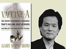 Gary Matsumoto en de cover van het indringende boek dat hij schreef over vaccinaties.