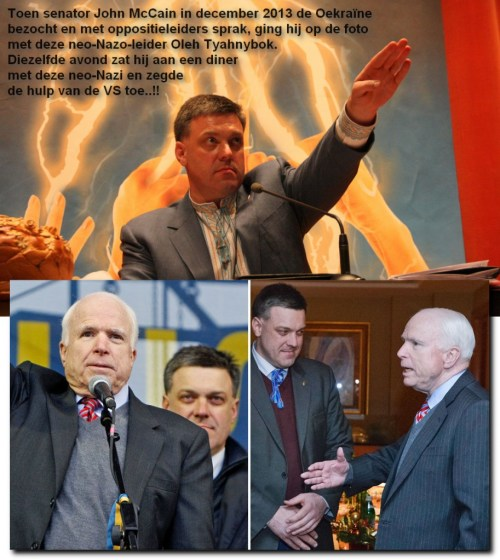 2 Van de daders in beeld..? De leider van de ulta-rechtse partij in de regering van Oekraïne, En natuurlijk de leider van de Amerikaanse goeddoeners.. John McCain, volop aanwezig voordat er ergens in de wereld Amerikaanse wapens en 'adviseurs' geleverd worden..