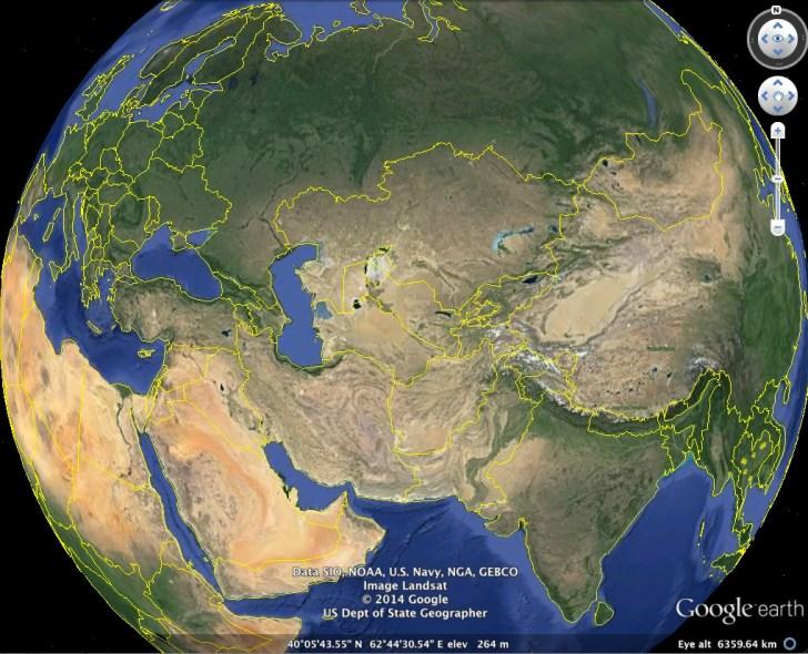 Google Earth met puur het aardoppervlak.