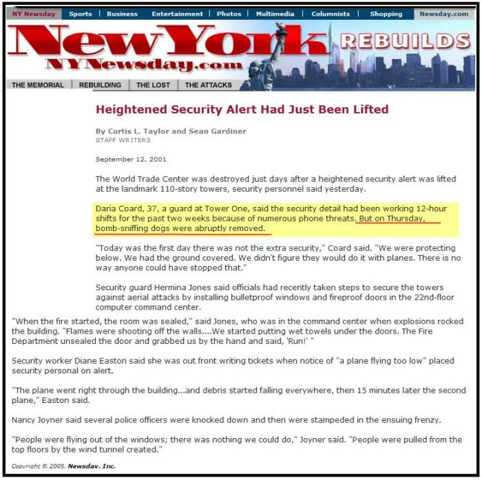 NY NEwsday 911 sniffing dogs