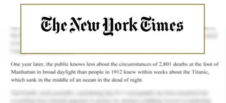 New York Times 911 Titanic quote