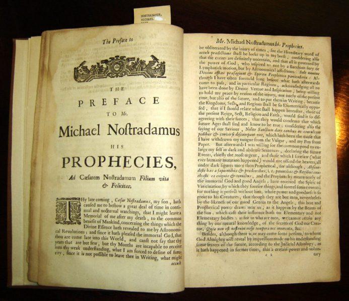 Nostradamus was de meest intrigerende profeet. Temeer omdat hij zijn voorspellende kwatrijnen, om vervolging te voorkomen, in spiegelschrift noteerde en nog een aantal 'sleutels' inbouwde om vervolging te voorkomen.