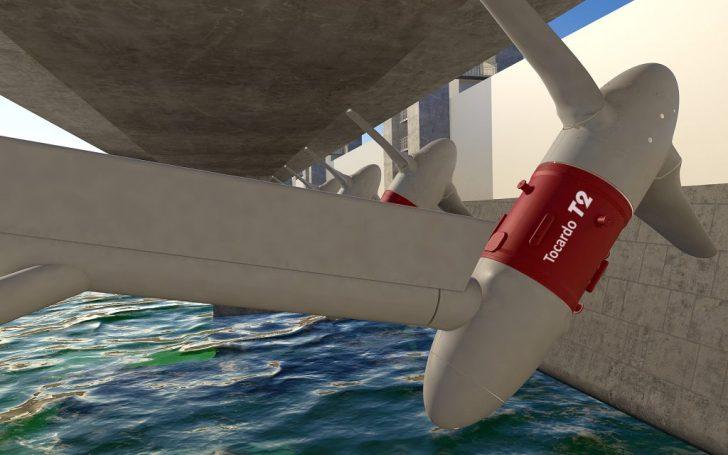 De ophanging van de waterturbines aan de grote basisconstructie is zódanig dat de turbines uit het Oosterscheldewater kunnen worden gedraaid voor bijv. onderhoud.