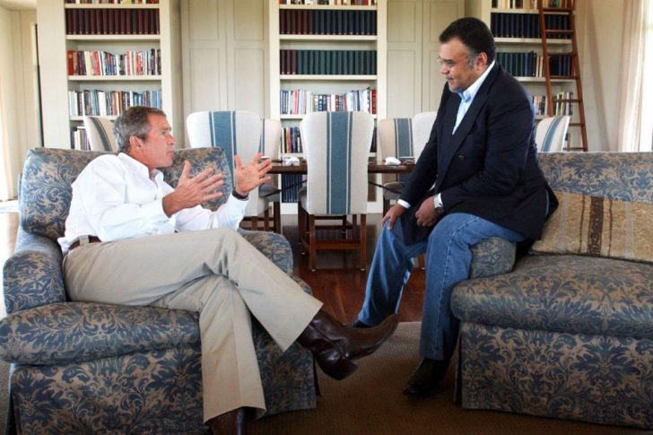 President George W. Bush met prince Bandar bin Sultan