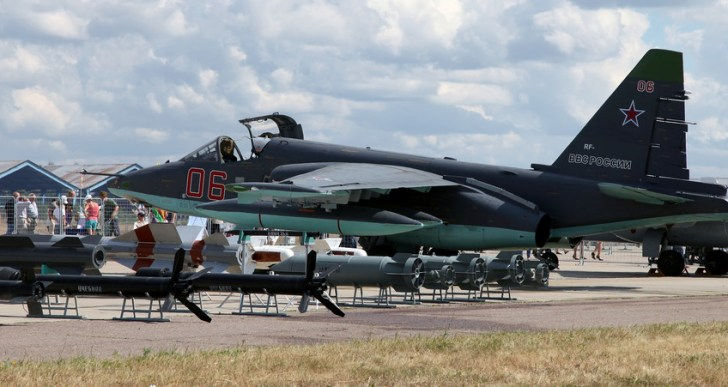 Een gevechtsvliegtuig, type SU-25, zoals die in het bezit is van de huidige regering van Oekraïne.