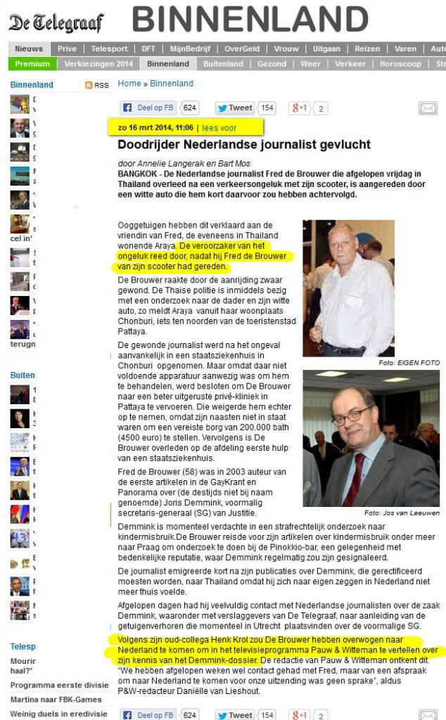 Telegraaf bericht Fred de Brouwer