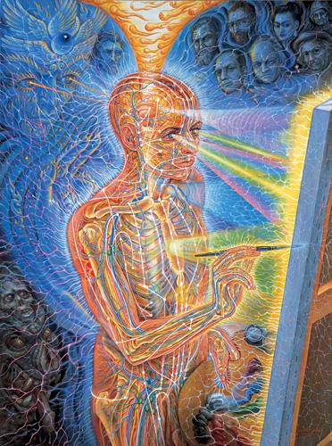 Prachtig kunstwerk van Alex Grey, waarin hij de kosmische ontvangerfunctie van de pijnappelklier uitbeeldt.