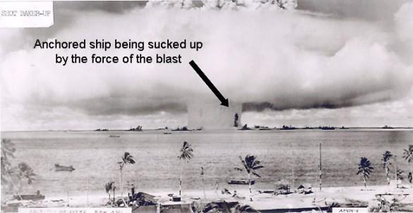 Het experiment met de waterstofbom op het atol Bikini; niet alleen de bom werd getest, maar ook de uitwerking op mens en machine. Heel efficient kennelijk.