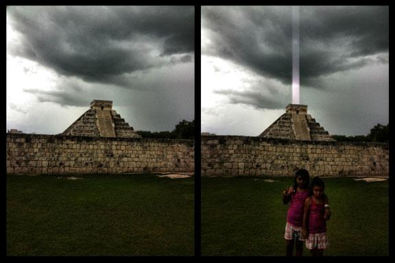Een foto van zijn kinderen voor de piramide van Chizeniza, werd de foto van zijn leven. Waar hij dacht een bliksem gefotografeerd te hebben, bleek deze foto exact op het juist moment deze lichtbundel te pakken te hebben..!