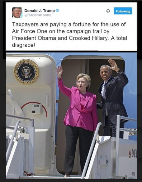 Hiillary Clinton, een paar weken geleden in de Air Force One, samen met president Barack Obama, die met haar op verkiezingstoernee ging. Wat Trump ervan vond is ook duidelijk. En naast de president ook nog een Rothschild (eigenaar FED) als verkiezingspartner; what more could you wish for. Of bevestigt het de marionettenstatus van Hillary Clinton-Rodham. (EN Obama?)
