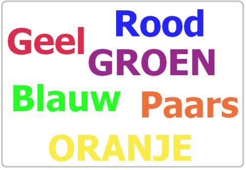 Kijk naar de kleuren en lees vervolgens deze kleuren hardop voor. Observeer je gevoel bij het zien van de kleur en de verwarring in de tekst..