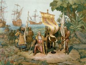 Chirstopher Columbus komt aan in het nieuw land.