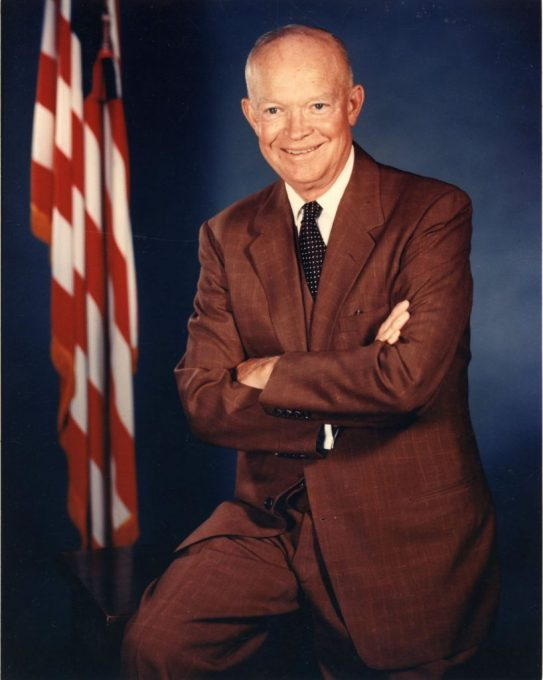 Oorlogsveteraan, generaal Eisenhower, werd president van de VS, eind jaren 1950.