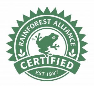 Het eco-keurmerk Rainforest Alliance, waarmee Unilever goede zaken doet.