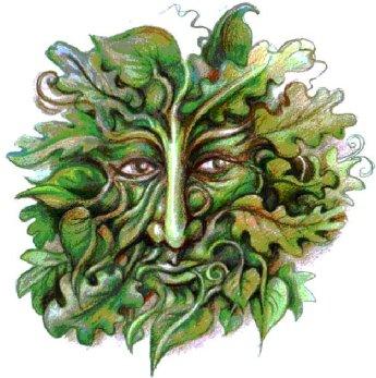 Coverafbeelding. De 'Green Man'. Als motief kent de Green Man vele variaties over de hele wereld; afbeeldingen ervan zijn gevonden over de hele wereld. Primair is de afbeelding een interpretatie van de hergeboorte, of de 'renaissance', die de groeicyclus representeert, die elke Lente weer begint. Sommigen beweren dat dit symbolische beeld in vele historische culturen opdoemde, zonder dat er onderling contact was tussen deze beschavingen. Dat zou komen doordat het beeld uit het collectieve onderbewustzijn afkomstig is. De 'Green Man' wordt vaak als sculptuur of als tekening op gebouwen gezien. De sculpturen worden vaak als decoratief architectonisch ornament gebruikt. Het gezicht van de 'Green Man' is volledig in groene bladeren en takken gevat en hij toont daarmee de levenskracht van de natuur. Dat zou komen doordat het beeld uit het collectieve onderbewustzijn afkomstig is. De 'Green Man' wordt vaak als sculptuur of als tekening op gebouwen gezien. De sculpturen worden vaak als decoratief architectonisch ornament gebruikt. Het gezicht van de 'Green Man' is volledig in groene bladeren en takken gevat en hij toont daarmee de levenskracht van de natuur.