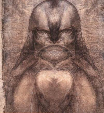 Het resultaat van het originele en het gespiegelde detail uit de tekening van Da Vinci.