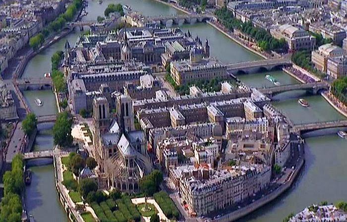 Het eilandje in de Seine in Parijs: l'Ile de la Cité.