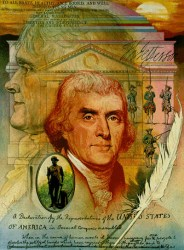 """Thomas Jefferson, voormalig VS-president: """"Als de Amerikanen zich ooit inlaten met private banken om het probleem met hun valuta te slechten, eerst met inflatie, dan met deflatie, dan zullen de banken en hun aanverwante bedrijven, die rondom de banken zullen groeien, alle het bezit van mensen ontvreemden, tot het moment dat hun kinderen wakker worden, volledig thuisloos in het land dat hun overgrootvaders veroverden.. Het vermogen om geld te scheppen dient van de banken te worden weggenomen. De burgers, en alleen de burgers, dienen deze scheppingskracht te beheersen, zij aan wie het oorspronkelijk toebehoort."""""""