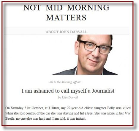 Een screenshot van de blog van John Darvall.