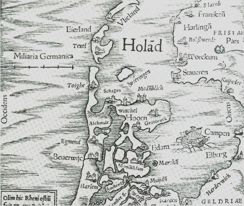 Een kaart van Noord Holland uit 1520 die duidelijk de hoogte van het land t.o.v. het zeeniveau laat zien. De inpoldering van NoordHolland toont het beeld van 2009.