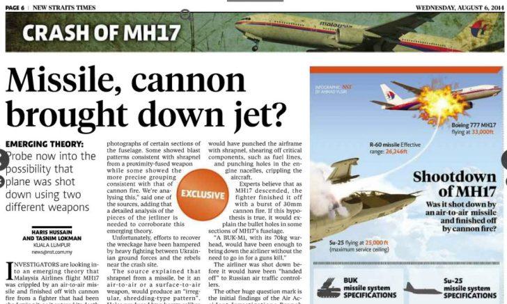 Wij hebben het Telegraafje, die wéten dat de separatisten de moordenaars zijn, al na 1 dag. Malaysia stelt via deze krant vragen.. En aangezien de separatisten geen beschikking hebben over jachtvliegtuigen, wijst dit bericht DIRECT naar Kiev als mogelijke schuldige..?!