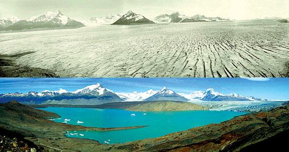 De patagonia gletsjer in 1928 (boven) en 2004.