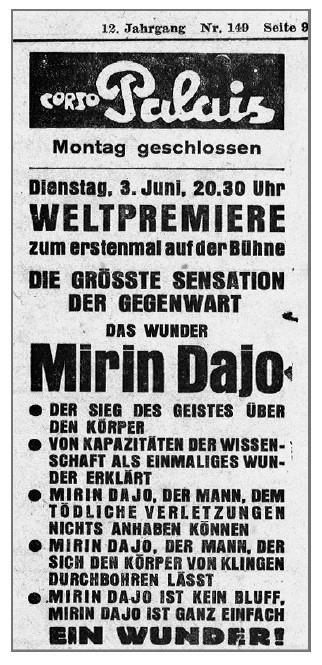 Een van de vele, vele posters uit de tijd dat Mirin Dajo werd aangekondigd en getoond als een bezienswaardigheid. Zijn boodschap raakte toen al op de achtergrond.