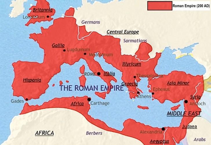Het groot-Romeinse Rijk, zo'n 200 v.Chr.