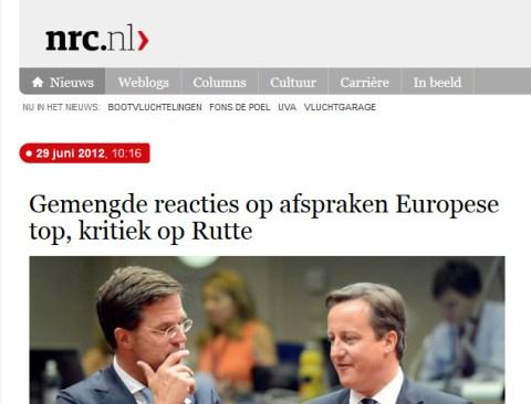 Zo deed NRC  verslag van de bereikte akkoorden op Europees niveau, m.b.t. de steunmaatregelen voor Europese banken.