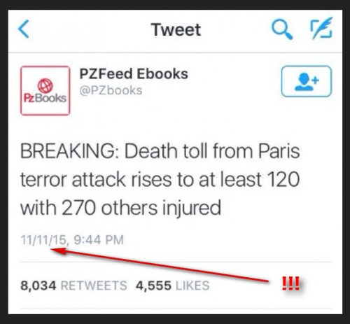 tweet 11 nov parijs vooraf melding