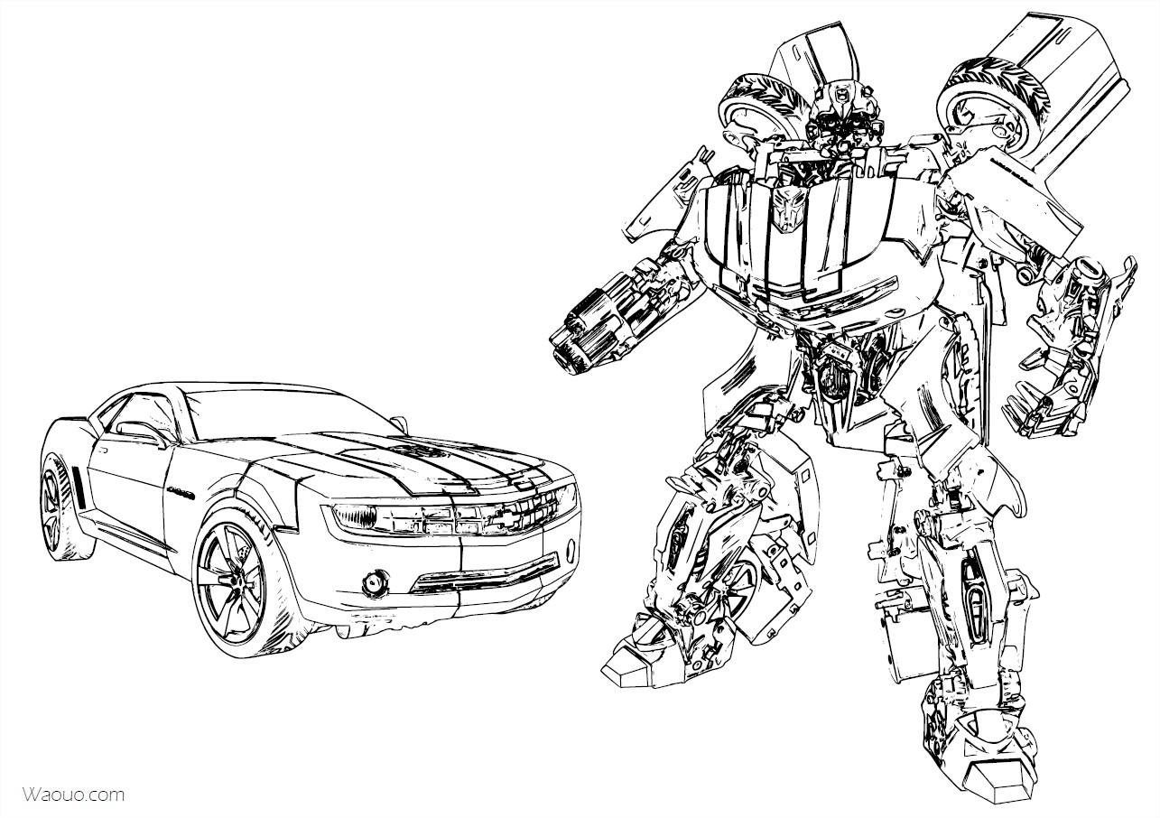Coloriage Bumblebee Transformers Chevrolet Camaro Imprimer