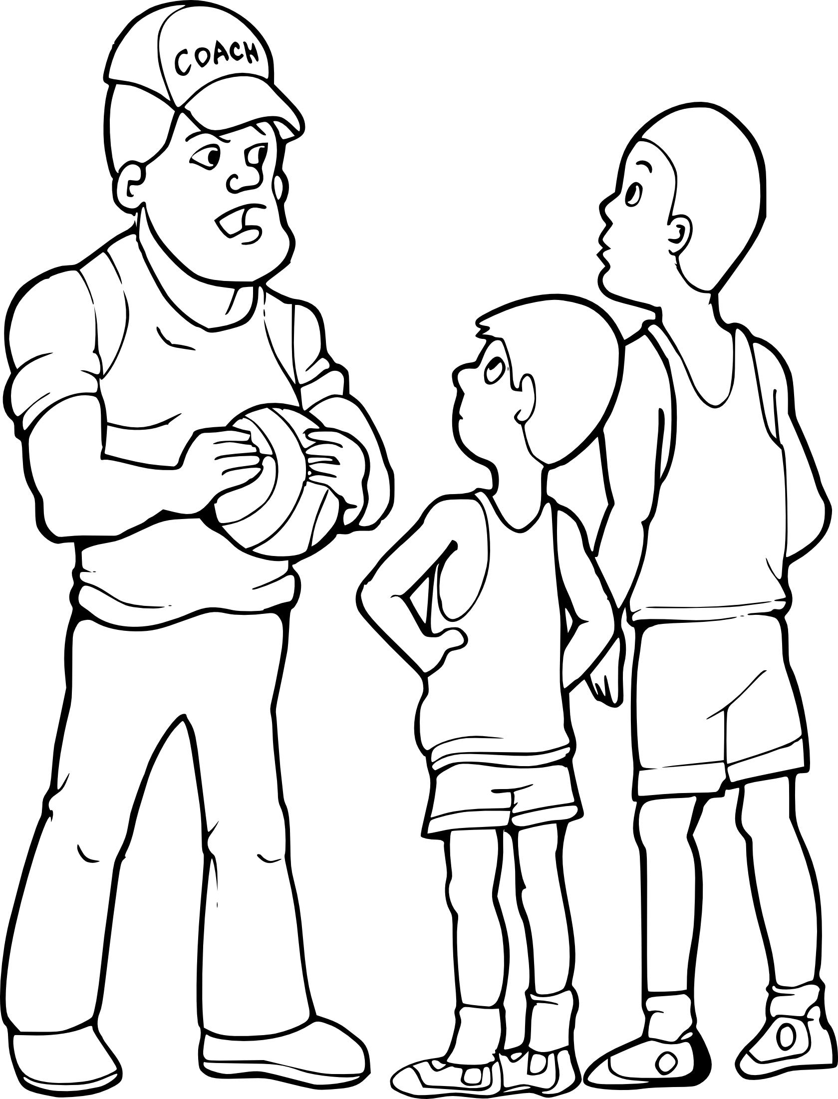 Coloriage Basketteurs Et Son Entraineur A Imprimer Et Colorier