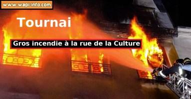 Tournai : incendie à la rue de la Culture - 4 maisons touchées