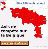 Belgique : alerte de niveau rouge de tempête - des rafales comprises entre 80 et 100 km/h attendues