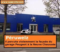 Péruwelz : une Audi percute la façade du concessionnaire Peugeot de la Neuve Chaussée (+ photos)