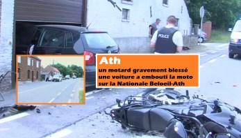 Ath : un motard gravement blessé - une voiture a embouti la moto