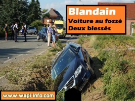 Blandain : collision et voiture au fossé - 2 blessés