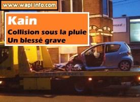 Kain : collision sous la pluie - un blessé grave