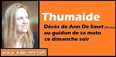 Thumaide : décès de Ann De Smet (35 ans) au guidon de sa moto ce dimanche soir