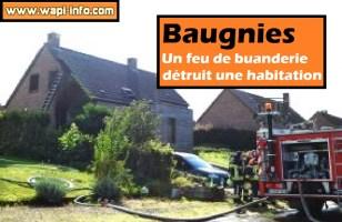 Baugnies : un feu de buanderie détruit une habitation