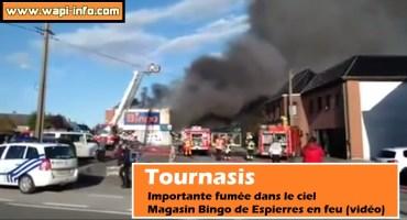 Tournaisis : importante fumée dans le ciel - magasin Bingo de Espierres en feu (vidéo)
