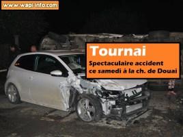 Tournai : spectaculaire accident ce samedi à la ch. de Douai