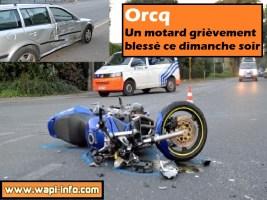 Orcq : un motard grièvement blessé ce dimanche soir