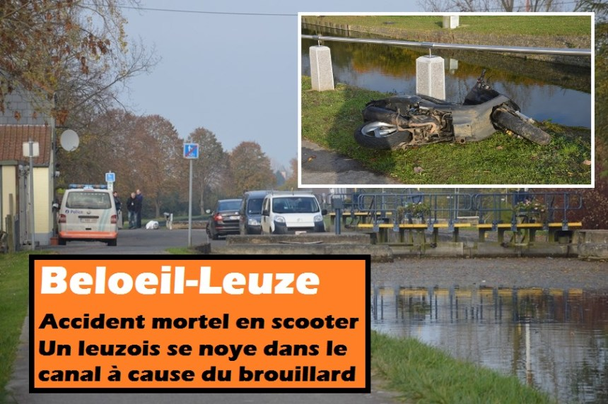 leuze accident mortel scooter canal