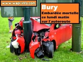 Bury : embardée mortelle ce lundi matin sur l'autoroute