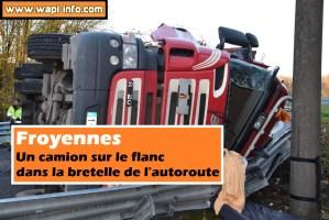 Froyennes : un camion sur le flanc dans la bretelle de l'autoroute