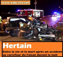 Hertain : entre la vie et la mort après un accident au carrefour du Faisan durant la nuit